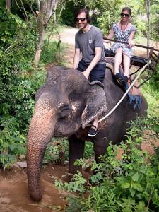 Climbing on an elephant